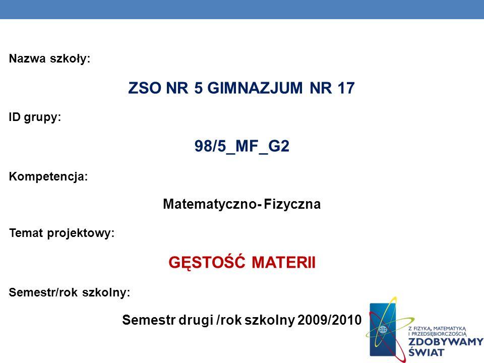 Matematyczno- Fizyczna Semestr drugi /rok szkolny 2009/2010