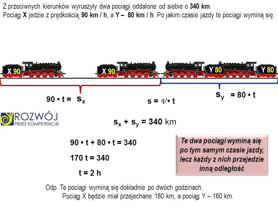 sy sx sx + sy = 340 km X 90 X 90 Y 80 Y 80 = 80 • t 90 • t = s = V • t