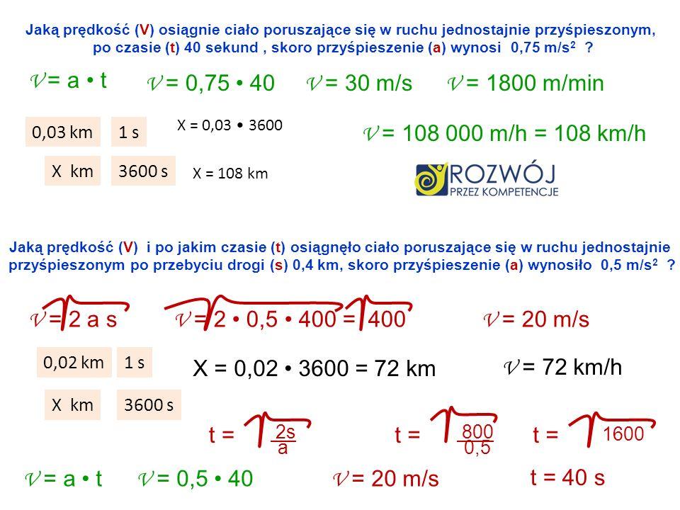 po czasie (t) 40 sekund , skoro przyśpieszenie (a) wynosi 0,75 m/s2