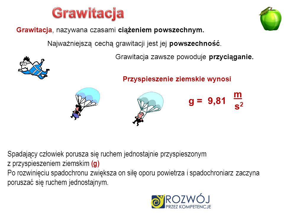 Grawitacja Grawitacja, nazywana czasami ciążeniem powszechnym. Najważniejszą cechą grawitacji jest jej powszechność.