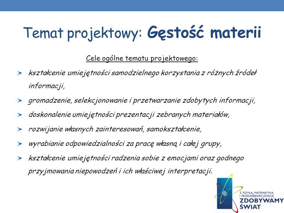 Temat projektowy: Gęstość materii