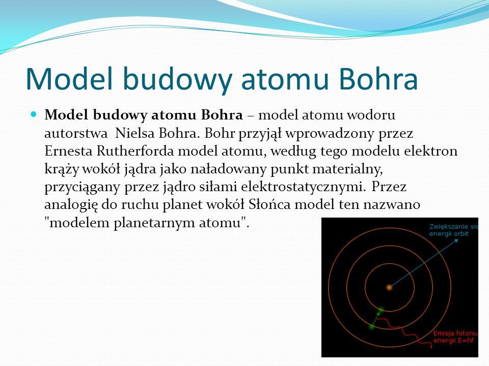Model budowy atomu Bohra