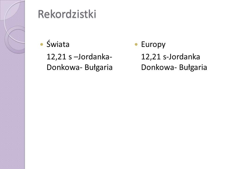 Rekordzistki Świata 12,21 s –Jordanka- Donkowa- Bułgaria Europy