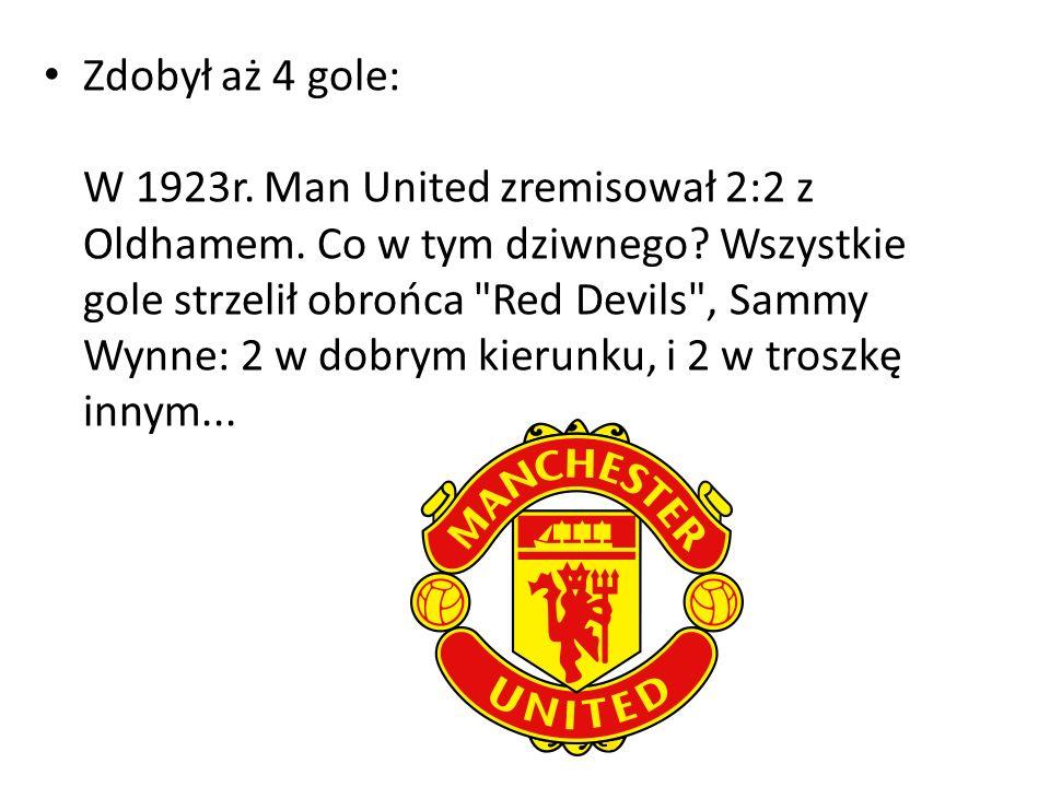 Zdobył aż 4 gole: W 1923r. Man United zremisował 2:2 z Oldhamem