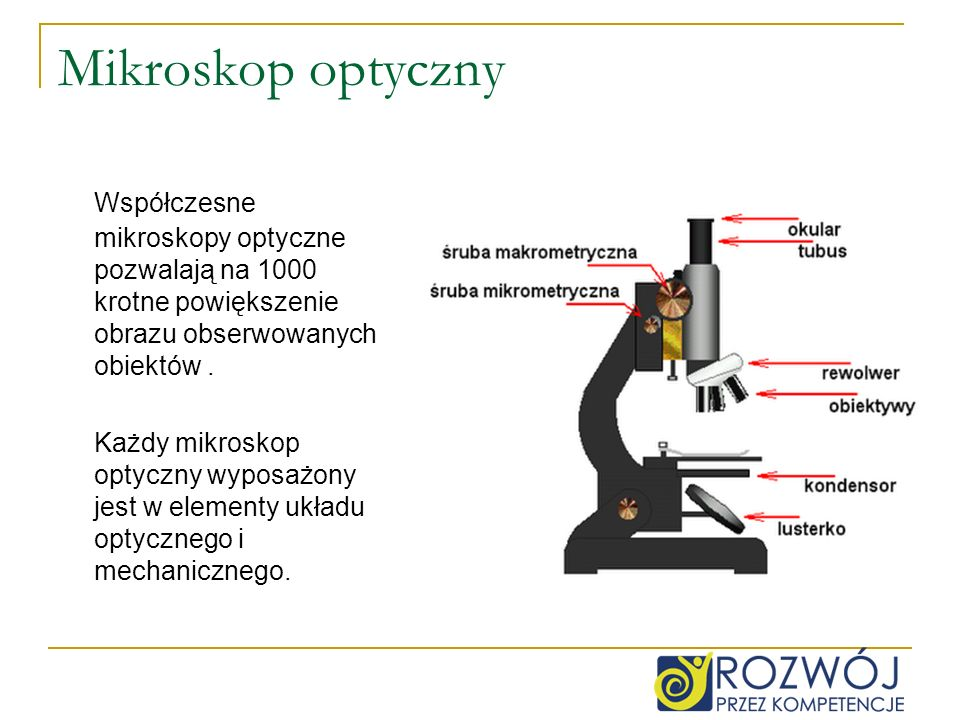 Mikroskop optyczny Współczesne mikroskopy optyczne pozwalają na 1000 krotne powiększenie obrazu obserwowanych obiektów .