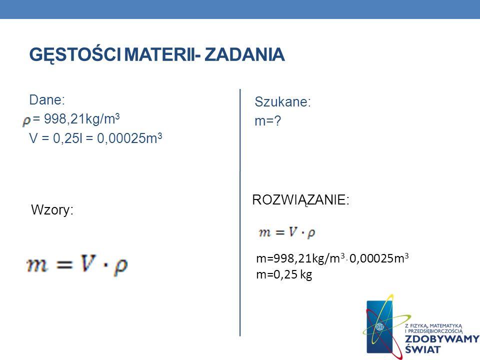gęstości materii- ZADANIA