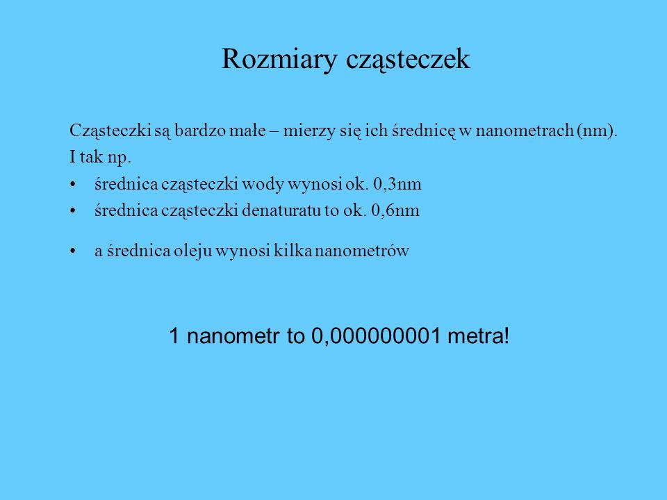 Rozmiary cząsteczek 1 nanometr to 0,000000001 metra!