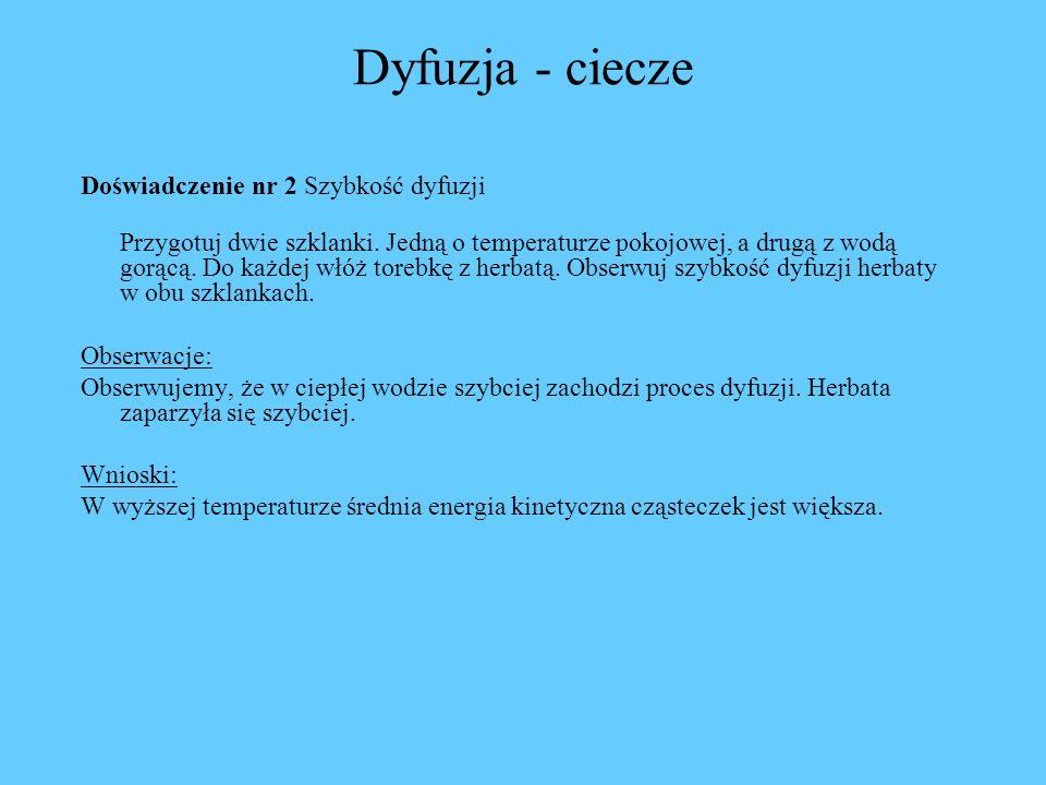 Dyfuzja - ciecze Doświadczenie nr 2 Szybkość dyfuzji