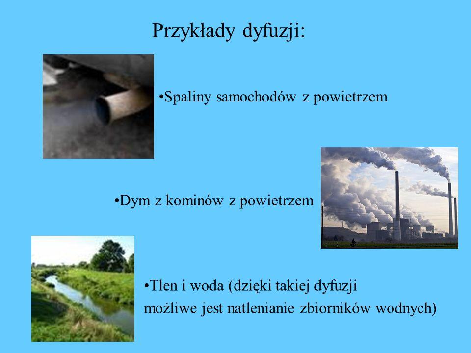 Przykłady dyfuzji: Spaliny samochodów z powietrzem