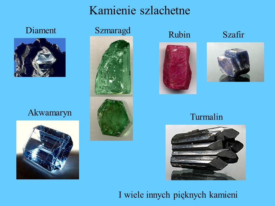 Kamienie szlachetne Diament Szmaragd Rubin Szafir Akwamaryn Turmalin