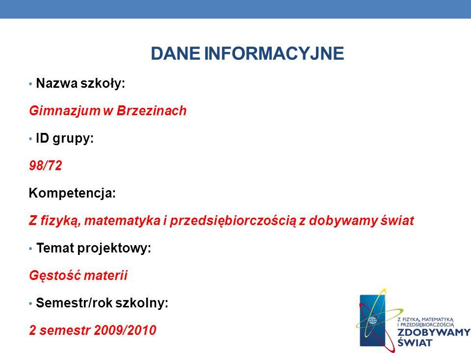 Dane INFORMACYJNE Nazwa szkoły: Gimnazjum w Brzezinach ID grupy: 98/72
