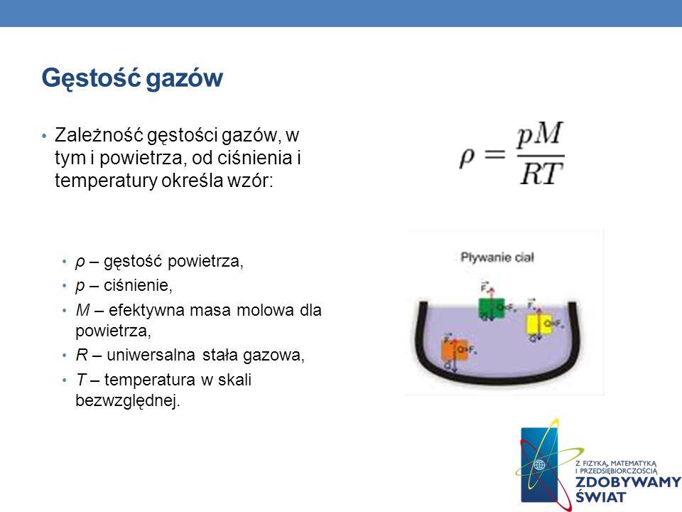 Gęstość gazów Zależność gęstości gazów, w tym i powietrza, od ciśnienia i temperatury określa wzór: