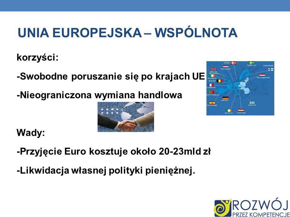 UNIA EUROPEJSKA – WSPÓLNOTA