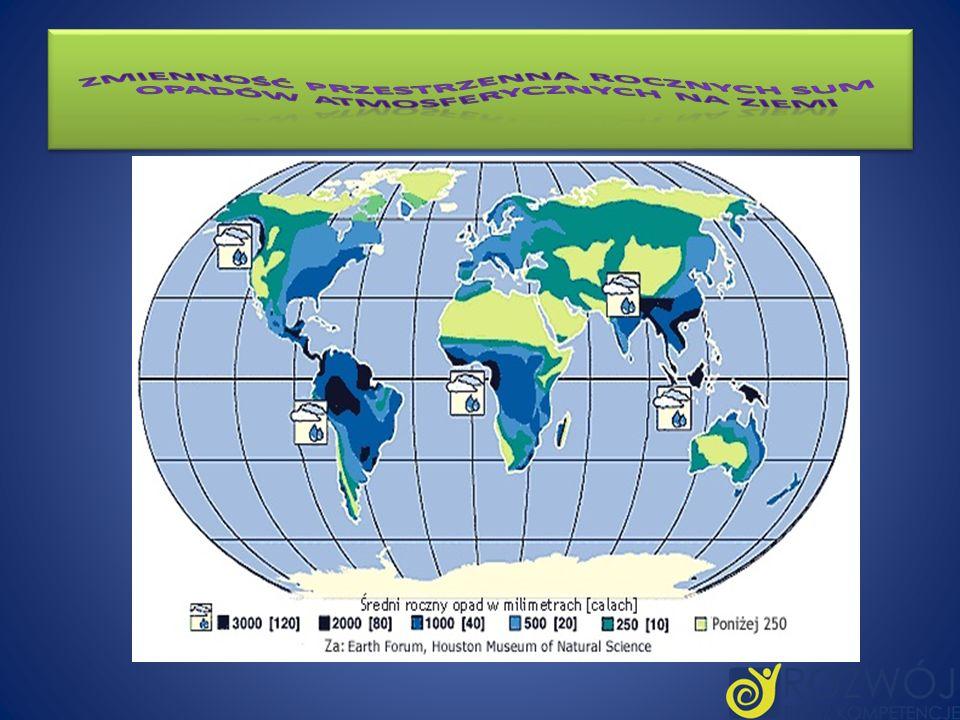 Zmienność przestrzenna rocznych sum opadów atmosferycznych na Ziemi