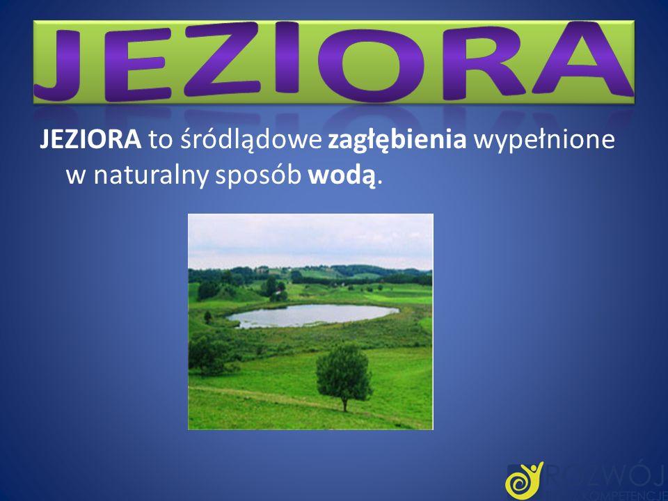 Jeziora JEZIORA to śródlądowe zagłębienia wypełnione w naturalny sposób wodą.