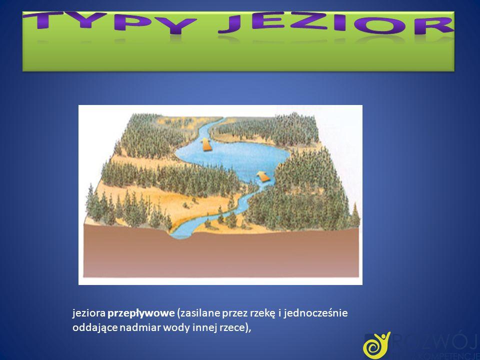 Typy jezior jeziora przepływowe (zasilane przez rzekę i jednocześnie oddające nadmiar wody innej rzece),