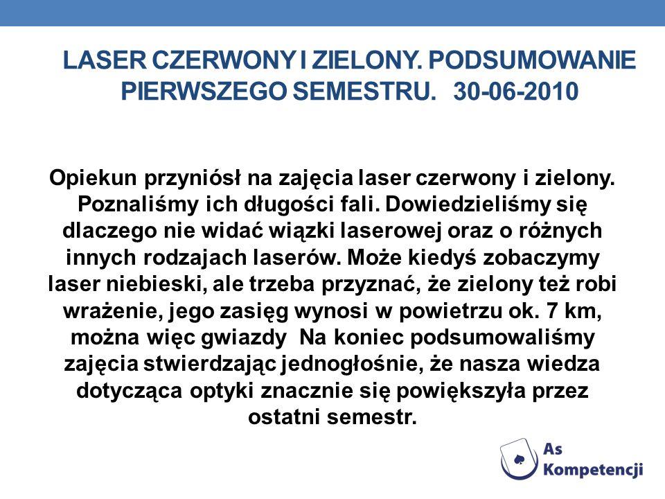 LASER CZERWONY I ZIELONY. PODSUMOWANIE PIERWSZEGO SEMESTRU. 30-06-2010