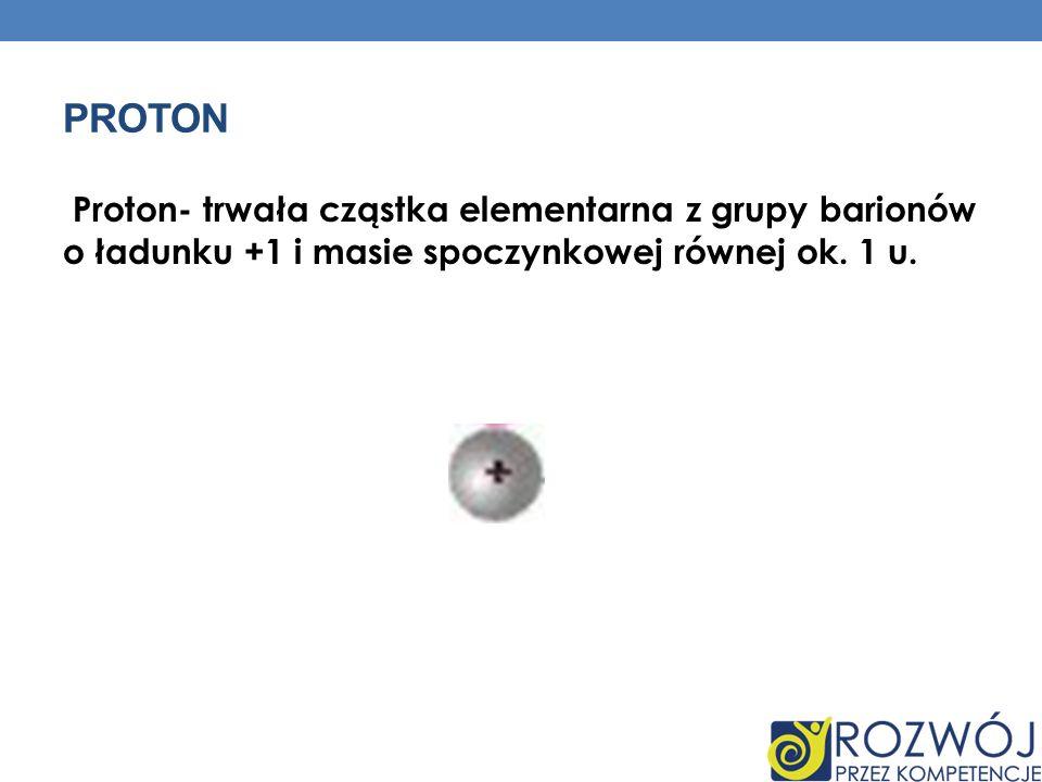 Proton Proton- trwała cząstka elementarna z grupy barionów o ładunku +1 i masie spoczynkowej równej ok.