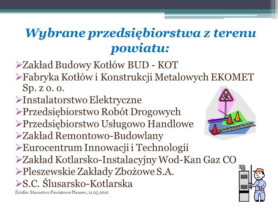 Wybrane przedsiębiorstwa z terenu powiatu: