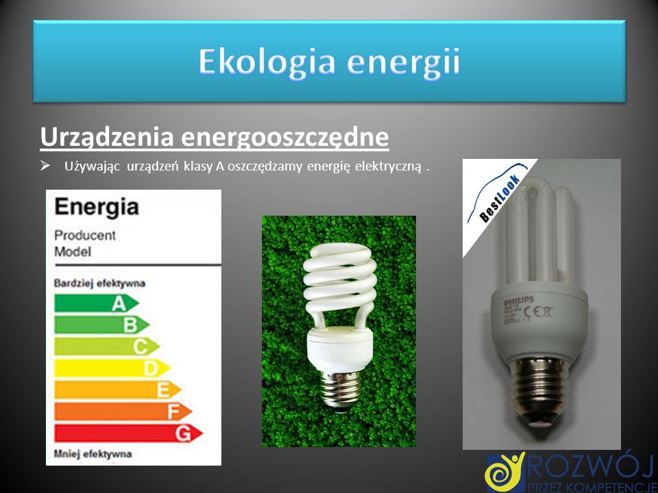 Ekologia energii Urządzenia energooszczędne