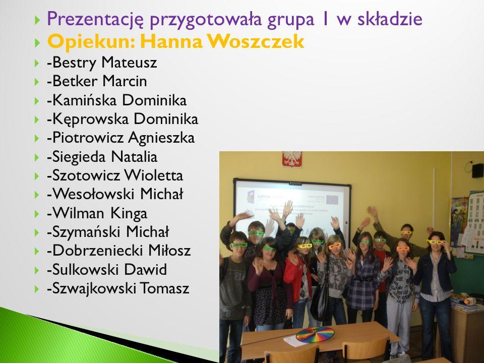 Prezentację przygotowała grupa 1 w składzie Opiekun: Hanna Woszczek