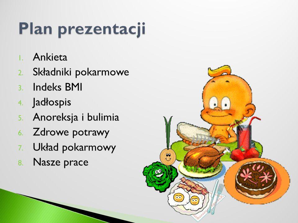Plan prezentacji Ankieta Składniki pokarmowe Indeks BMI Jadłospis