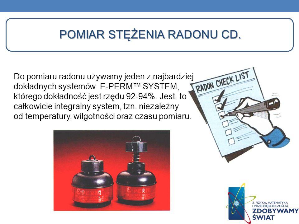 Pomiar stężenia radonu cd.