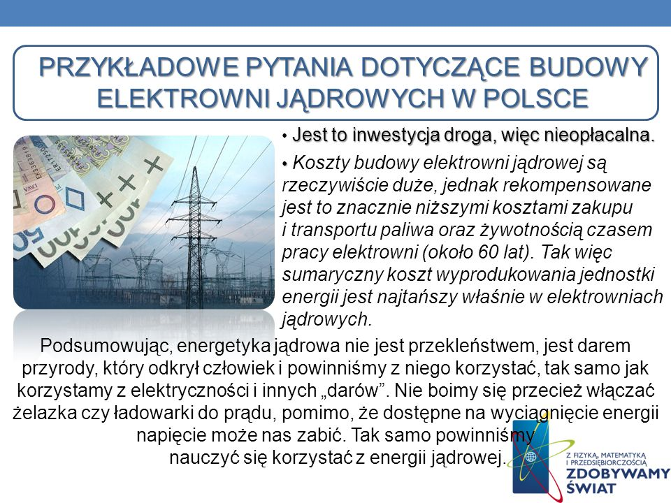 Przykładowe pytania dotyczące budowy elektrowni jądrowych w Polsce