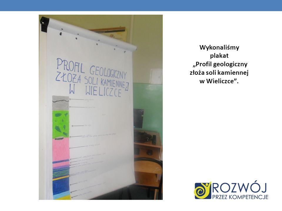 """Wykonaliśmy plakat """"Profil geologiczny złoża soli kamiennej w Wieliczce ."""