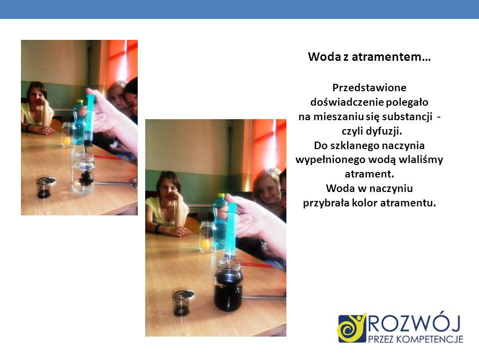 Woda z atramentem… Przedstawione doświadczenie polegało na mieszaniu się substancji - czyli dyfuzji.
