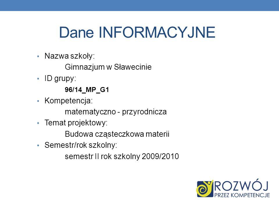 Dane INFORMACYJNE Nazwa szkoły: Gimnazjum w Sławecinie ID grupy:
