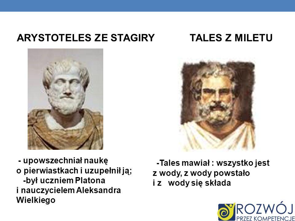 ARYSTOTELES ZE STAGIRY TALES Z MILETU