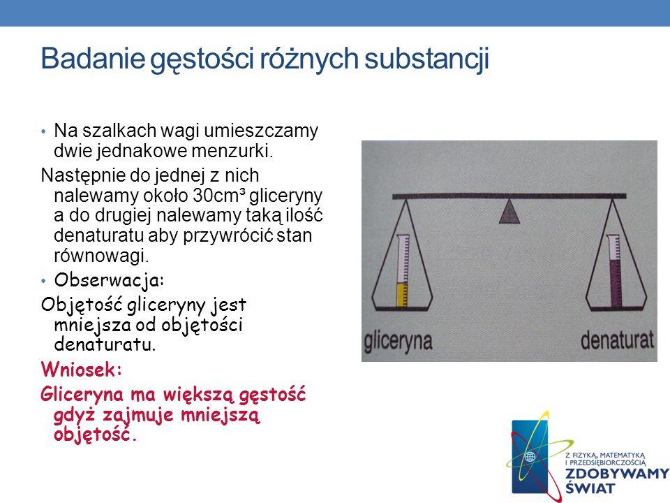 Badanie gęstości różnych substancji