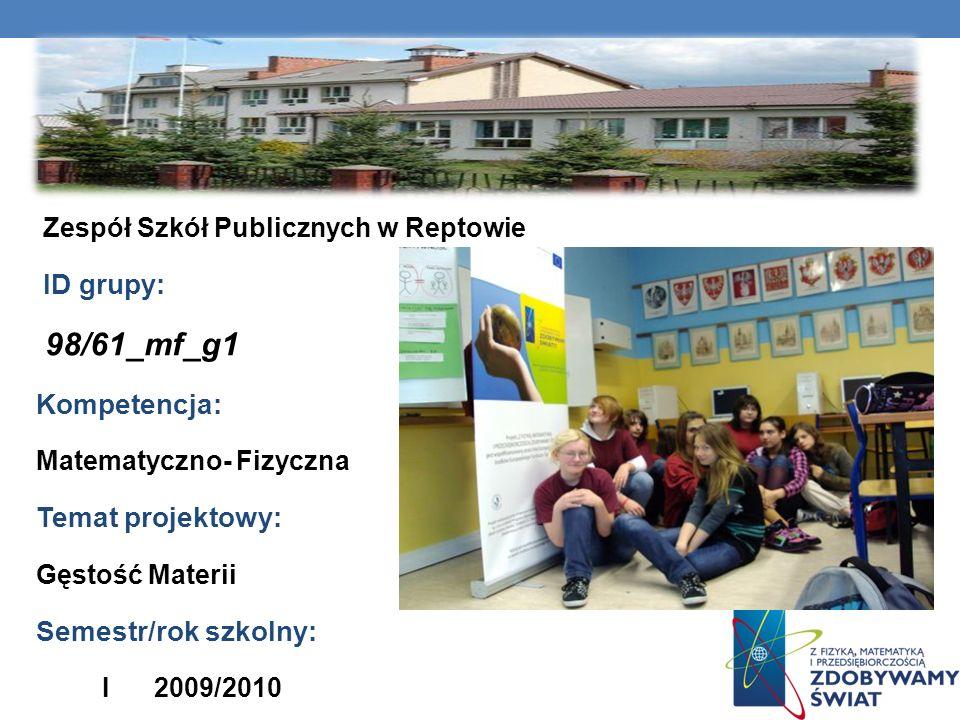 98/61_mf_g1 Nazwa szkoły: Kompetencja: Temat projektowy: