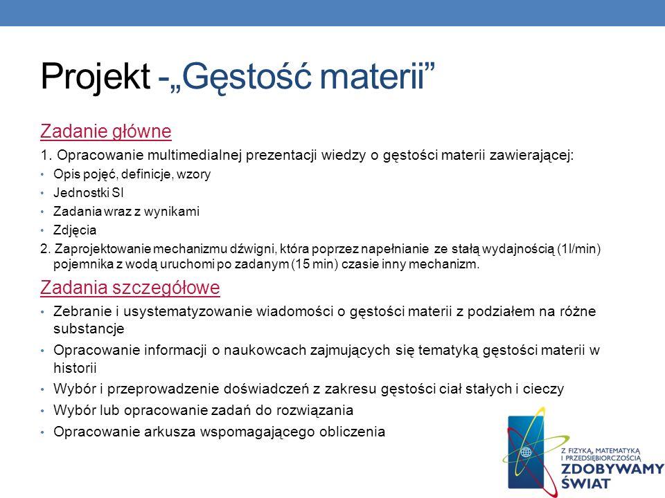 """Projekt -""""Gęstość materii"""