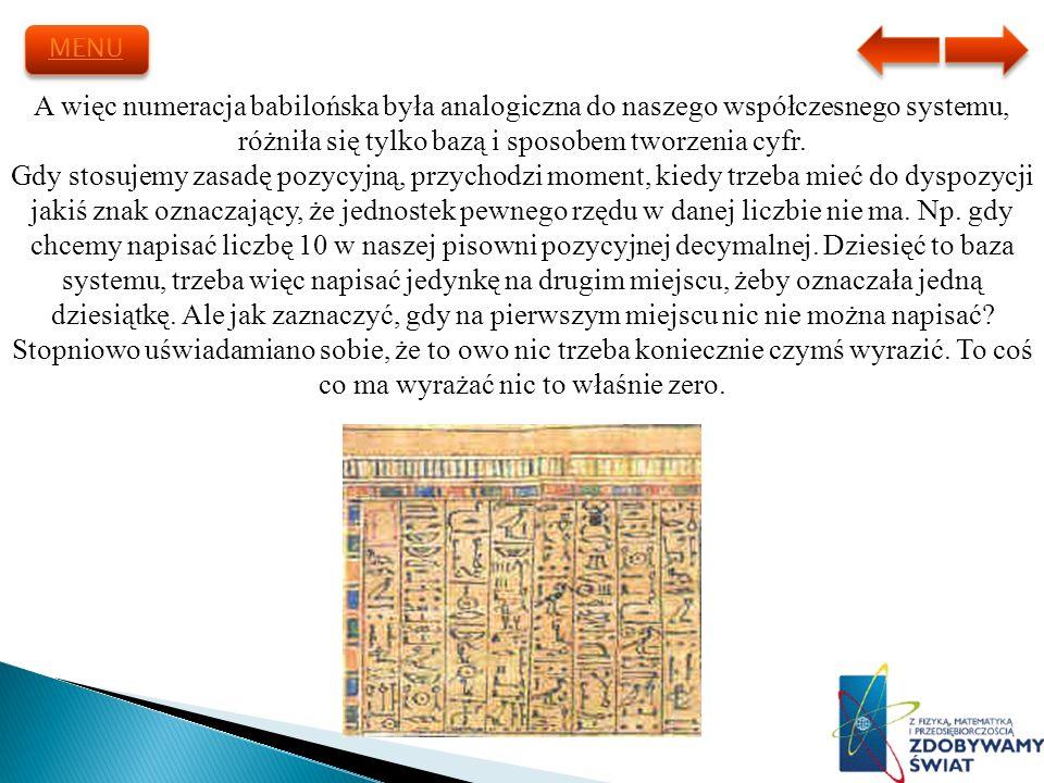 MENU A więc numeracja babilońska była analogiczna do naszego współczesnego systemu, różniła się tylko bazą i sposobem tworzenia cyfr.