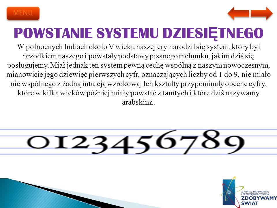 POWSTANIE SYSTEMU DZIESIĘTNEGO