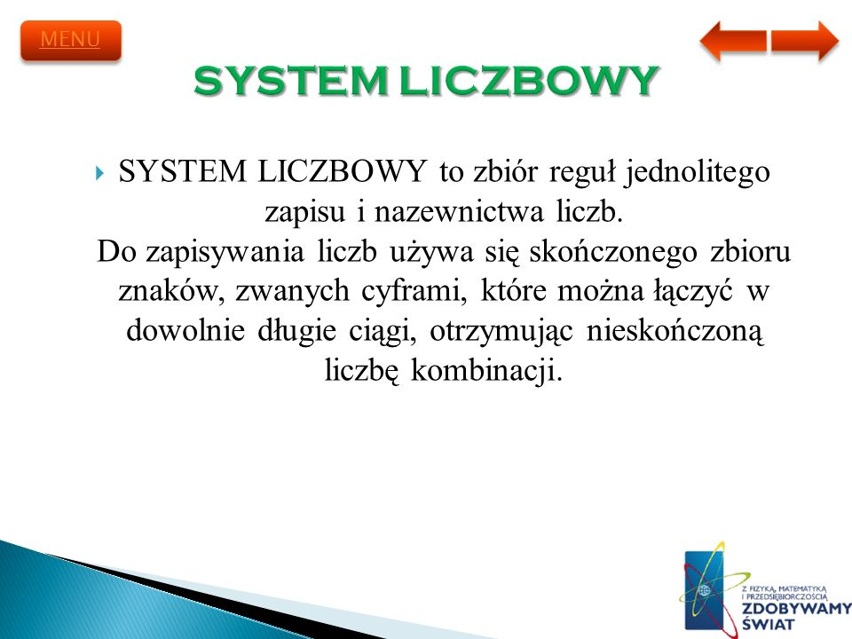 MENU SYSTEM LICZBOWY.