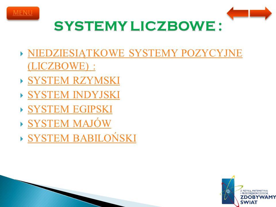SYSTEMY LICZBOWE : NIEDZIESIĄTKOWE SYSTEMY POZYCYJNE (LICZBOWE) :