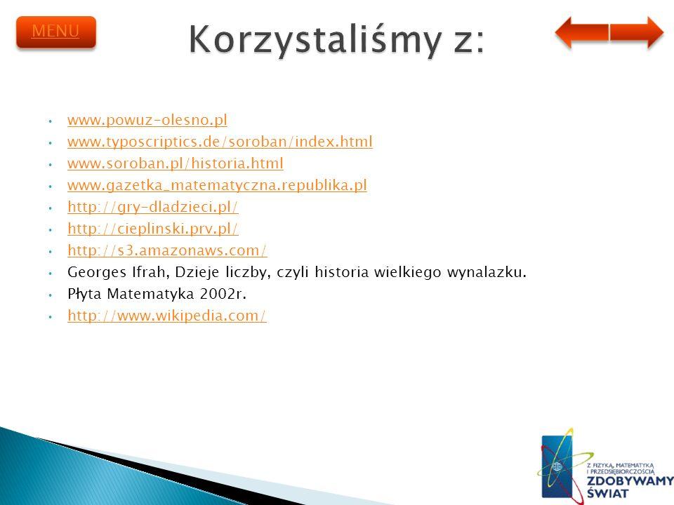 Korzystaliśmy z: MENU www.powuz-olesno.pl
