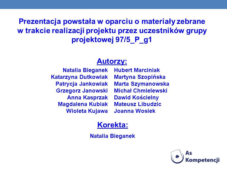 Prezentacja powstała w oparciu o materiały zebrane w trakcie realizacji projektu przez uczestników grupy projektowej 97/5_P_g1