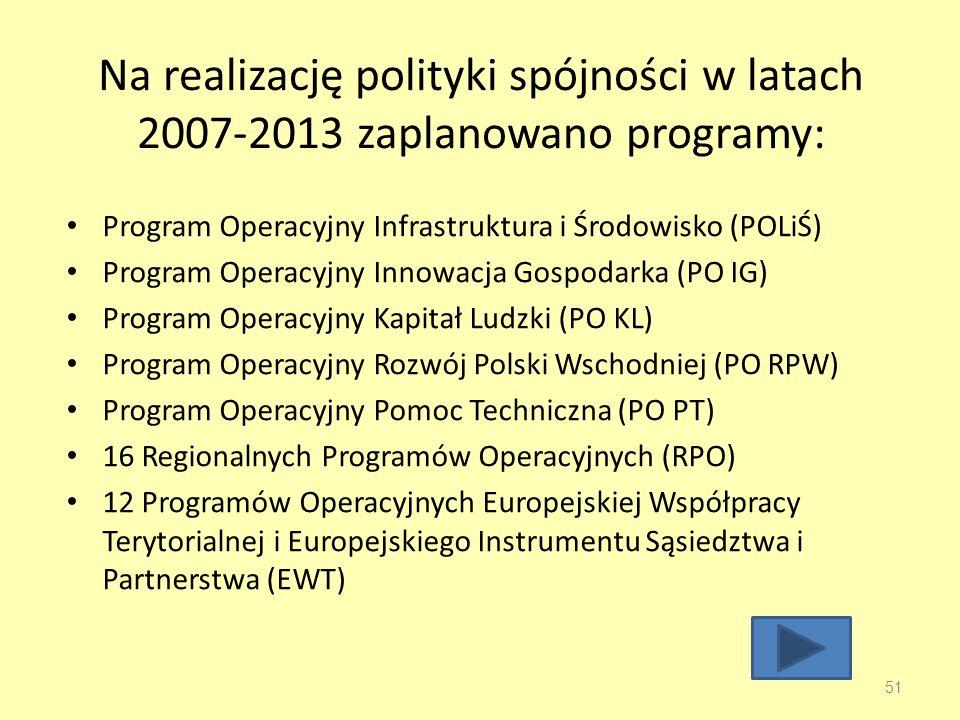 Na realizację polityki spójności w latach 2007-2013 zaplanowano programy: