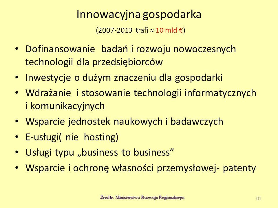 Innowacyjna gospodarka (2007-2013 trafi ≈ 10 mld €)