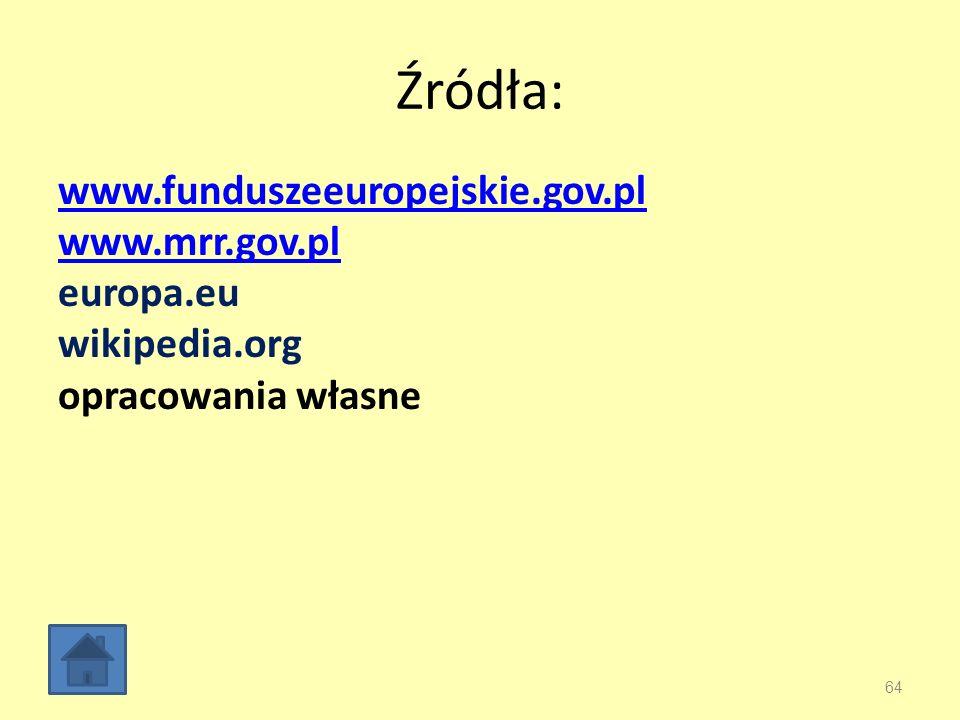 Źródła: www.funduszeeuropejskie.gov.pl www.mrr.gov.pl europa.eu wikipedia.org opracowania własne