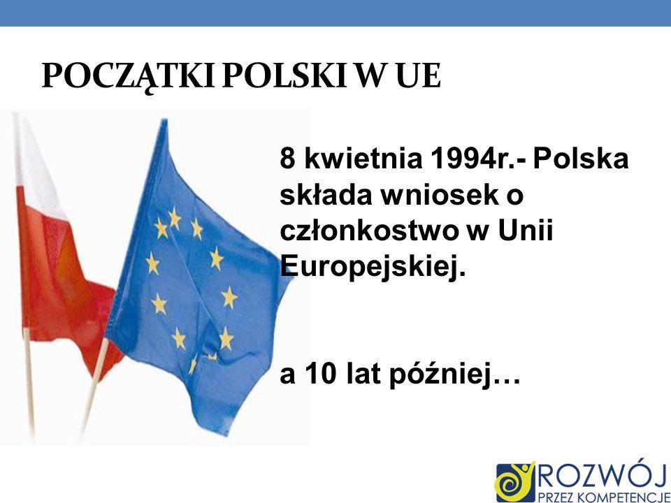 POCZĄTKI POLSKI W UE 8 kwietnia 1994r.- Polska składa wniosek o członkostwo w Unii Europejskiej.