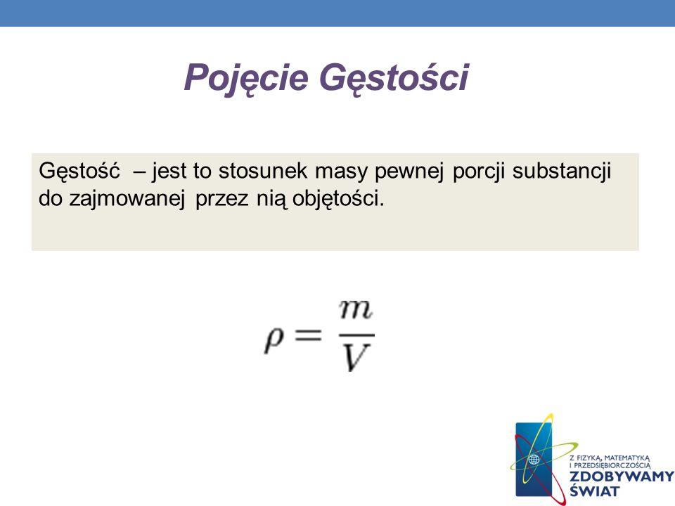Pojęcie Gęstości Gęstość – jest to stosunek masy pewnej porcji substancji do zajmowanej przez nią objętości.