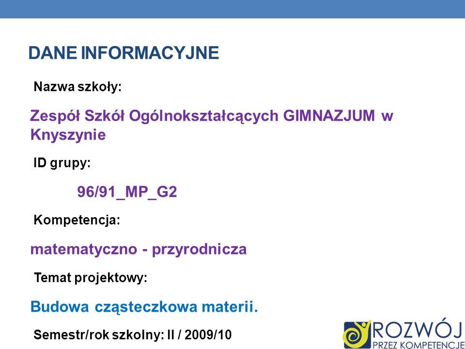 Dane INFORMACYJNE Nazwa szkoły: Zespół Szkół Ogólnokształcących GIMNAZJUM w Knyszynie. ID grupy:
