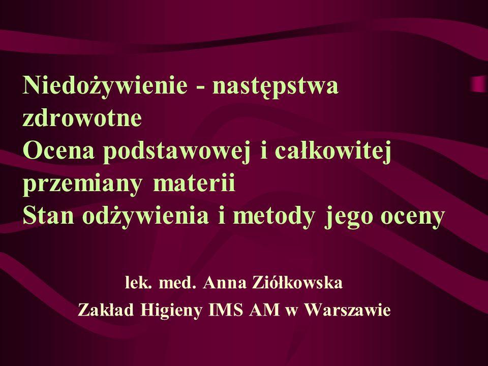 lek. med. Anna Ziółkowska Zakład Higieny IMS AM w Warszawie