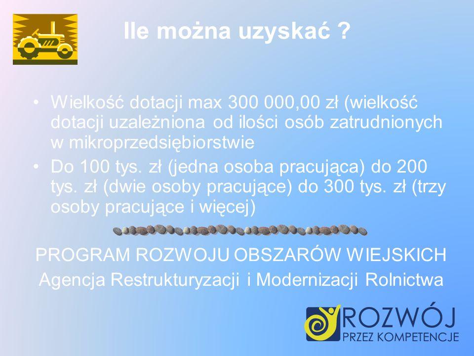 Ile można uzyskać Wielkość dotacji max 300 000,00 zł (wielkość dotacji uzależniona od ilości osób zatrudnionych w mikroprzedsiębiorstwie.