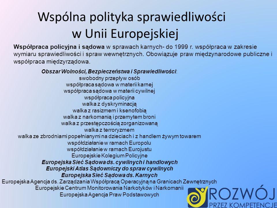Wspólna polityka sprawiedliwości w Unii Europejskiej